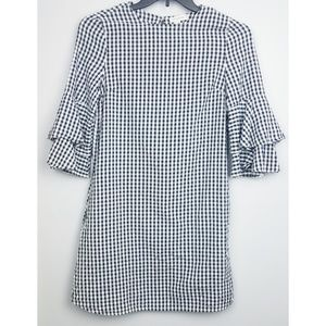 Office checkers dress, black and white